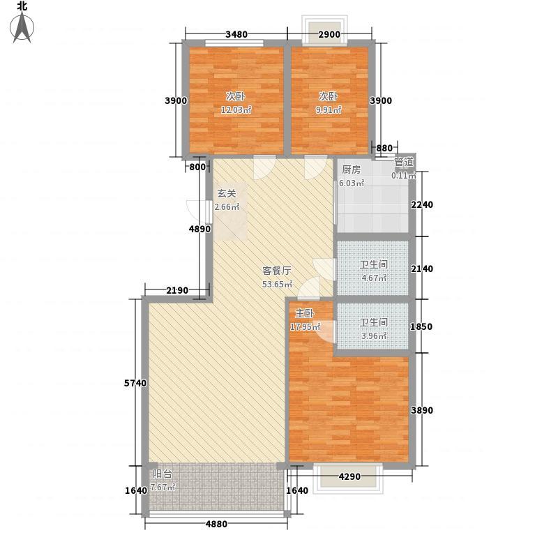 澳华城市花园12.00㎡B户型3室2厅2卫1厨