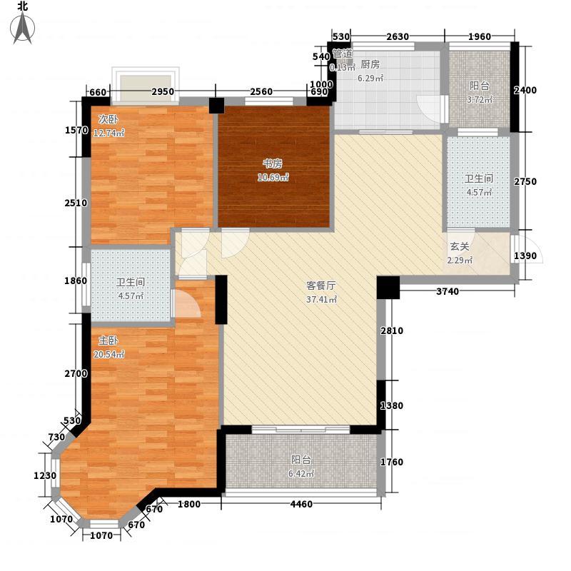 龙盛・华府13.00㎡1期3#栋标准层C户型3室2厅2卫1厨