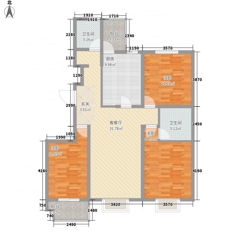东方太阳城135.00㎡一期高层23号楼户型3室2厅2卫1厨