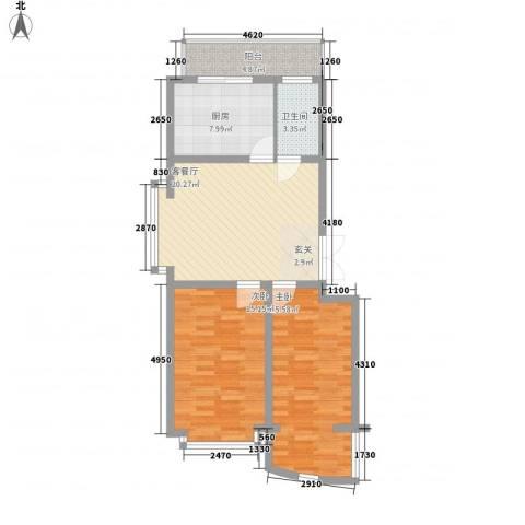 好景山庄2室1厅1卫1厨98.00㎡户型图