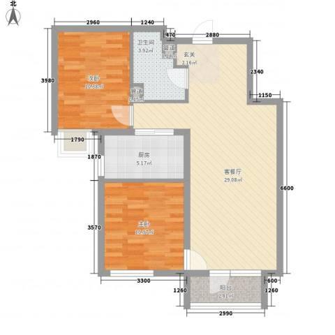 京汉铂寓2室1厅1卫1厨84.00㎡户型图