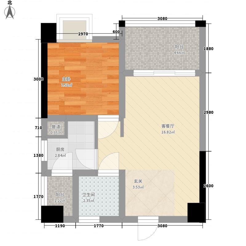 地铁首座53.70㎡三期15号楼公寓标准层A2户型1室2厅1卫1厨