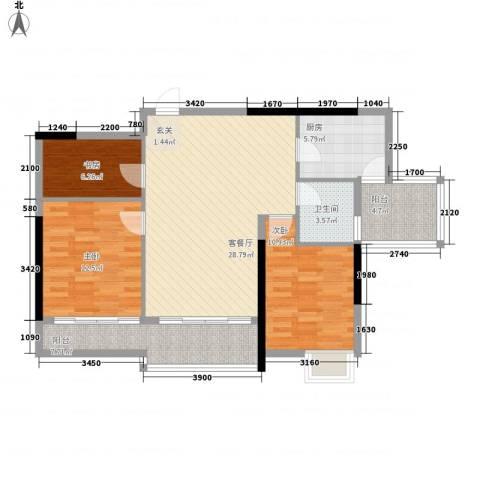 塔影苑3室1厅1卫1厨114.00㎡户型图