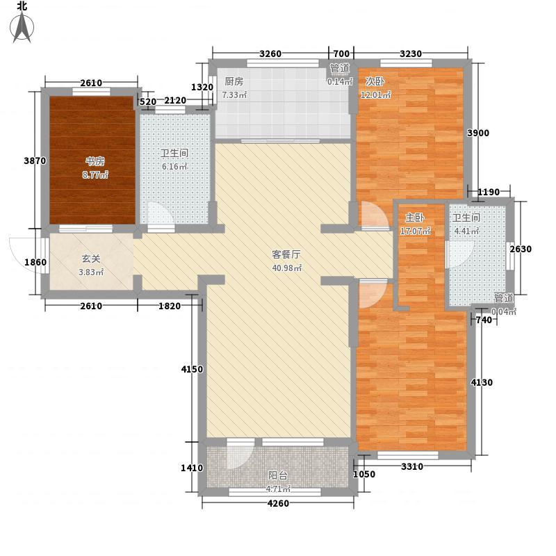 春田3室1厅2卫1厨135.00㎡户型图