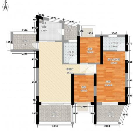 金地梅陇镇二期3室1厅2卫1厨89.00㎡户型图