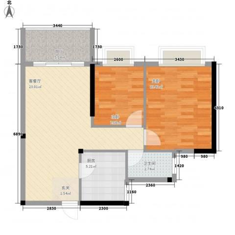 金茂华庭2室1厅1卫1厨78.00㎡户型图
