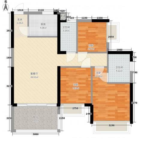 金地梅陇镇二期3室1厅2卫1厨100.00㎡户型图