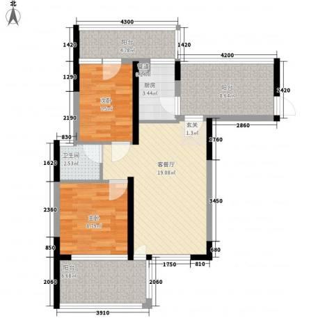 金地梅陇镇二期2室1厅1卫1厨90.00㎡户型图