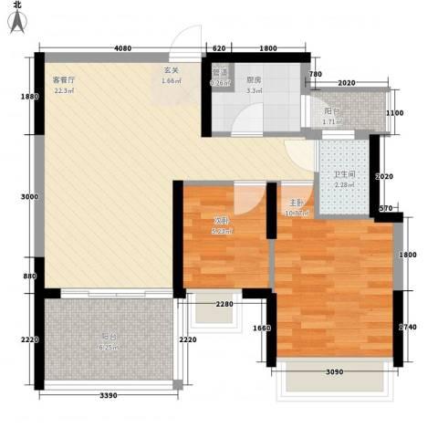 金地梅陇镇二期2室1厅1卫1厨77.00㎡户型图