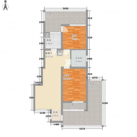 假日蓝湾2室1厅1卫1厨86.75㎡户型图