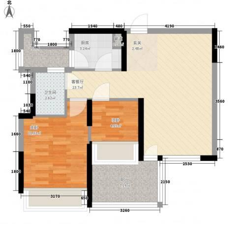 金地梅陇镇二期2室1厅1卫1厨78.00㎡户型图