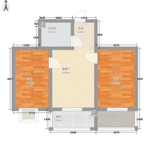 假日蓝湾2室1厅1卫1厨64.00㎡户型图