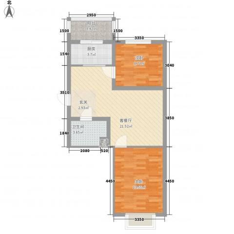 假日蓝湾2室1厅1卫1厨68.00㎡户型图