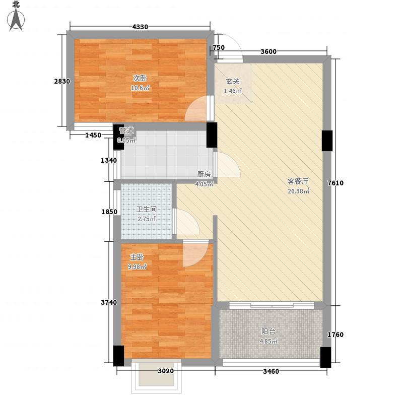 悦��84.00㎡1#楼02、03、06、07单元户型2室1厅1卫1厨