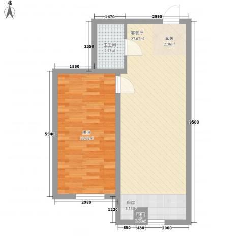 宁泰景园1室1厅1卫0厨68.00㎡户型图