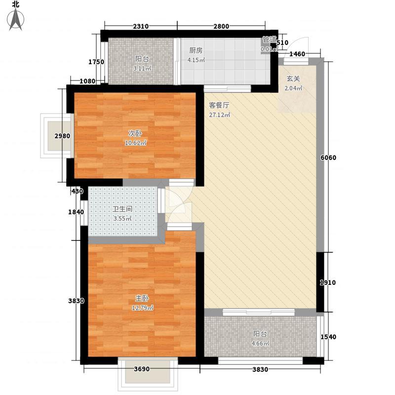 兰海商贸城家属院F户型:两房两厅一卫,98.73平米_调整大小户型2室2厅1卫1厨