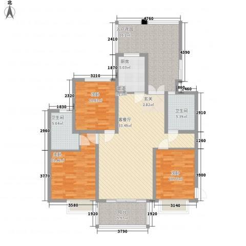 滨湖世纪城福徽苑3室1厅2卫1厨152.00㎡户型图