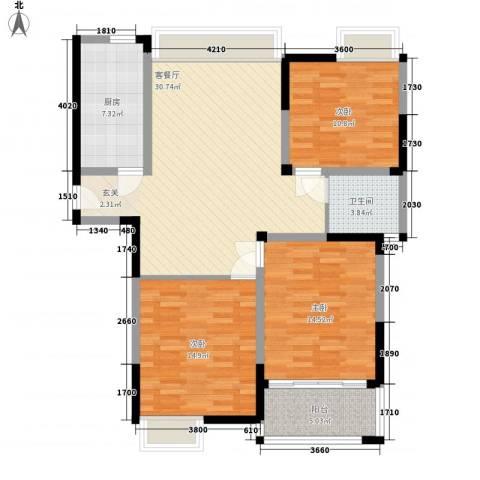 香槟花园3室1厅1卫1厨123.00㎡户型图