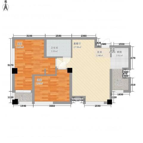 假日蓝湾2室1厅1卫0厨76.00㎡户型图