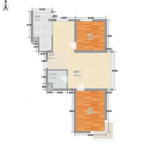 假日蓝湾2室1厅1卫1厨95.00㎡户型图