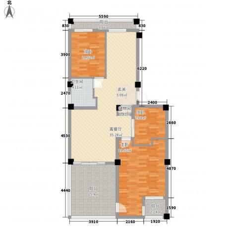 假日蓝湾3室1厅1卫0厨116.00㎡户型图