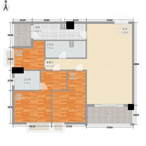 金湾畔3室1厅2卫1厨139.88㎡户型图