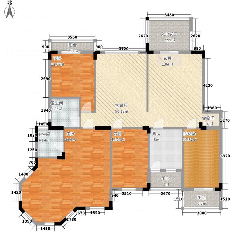 南国明珠二期192.29㎡c-4户型4室2厅2卫