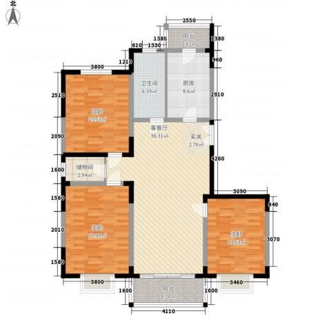 格林春天野花园3室1厅1卫1厨126.00㎡户型图