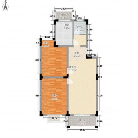 格林春天野花园2室1厅1卫1厨98.00㎡户型图