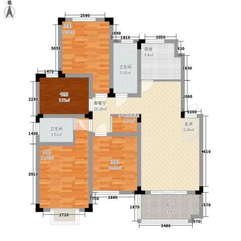 鹅湖一号4室1厅2卫1厨140.00㎡户型图