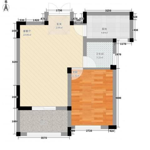 金美林花园1室1厅1卫1厨69.00㎡户型图