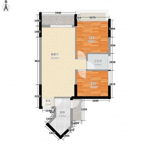 世纪春城三期2室1厅1卫1厨78.00㎡户型图