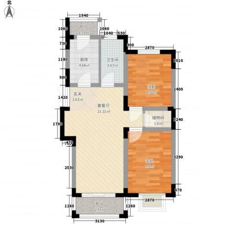 格林春天野花园2室1厅1卫1厨111.00㎡户型图