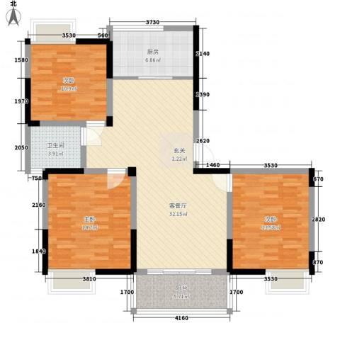 香槟花园3室1厅1卫1厨125.00㎡户型图