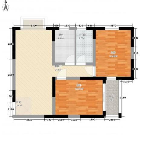 格林春天野花园2室1厅1卫1厨104.00㎡户型图