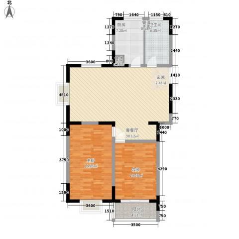 格林春天野花园2室1厅1卫1厨115.00㎡户型图