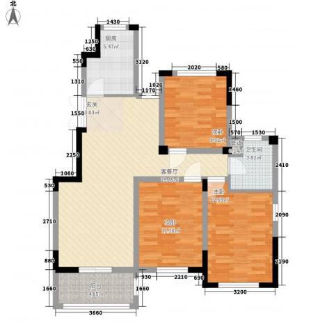 金美林花园3室1厅1卫1厨112.00㎡户型图