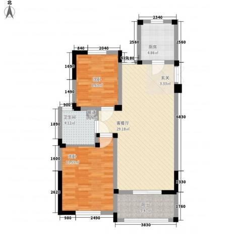 金美林花园2室1厅1卫1厨96.00㎡户型图