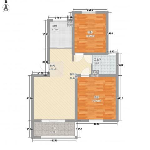 五星家园2室1厅1卫1厨72.00㎡户型图