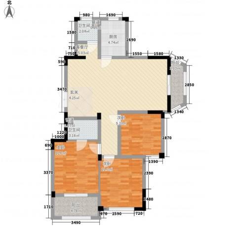金美林花园3室1厅2卫1厨125.00㎡户型图