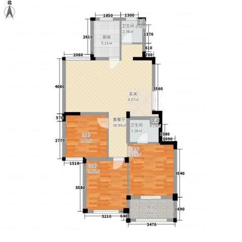 金美林花园3室1厅2卫1厨114.00㎡户型图