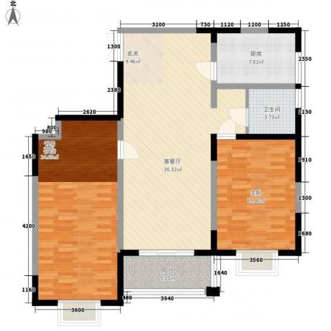格林春天野花园2室1厅1卫1厨117.00㎡户型图