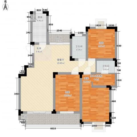 鹅湖一号3室1厅2卫1厨125.00㎡户型图