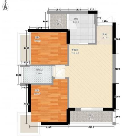 新时代家园2室1厅1卫1厨65.00㎡户型图