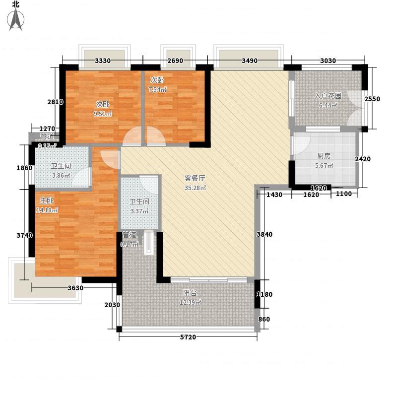 星际豪庭3室1厅2卫1厨123.00㎡户型图