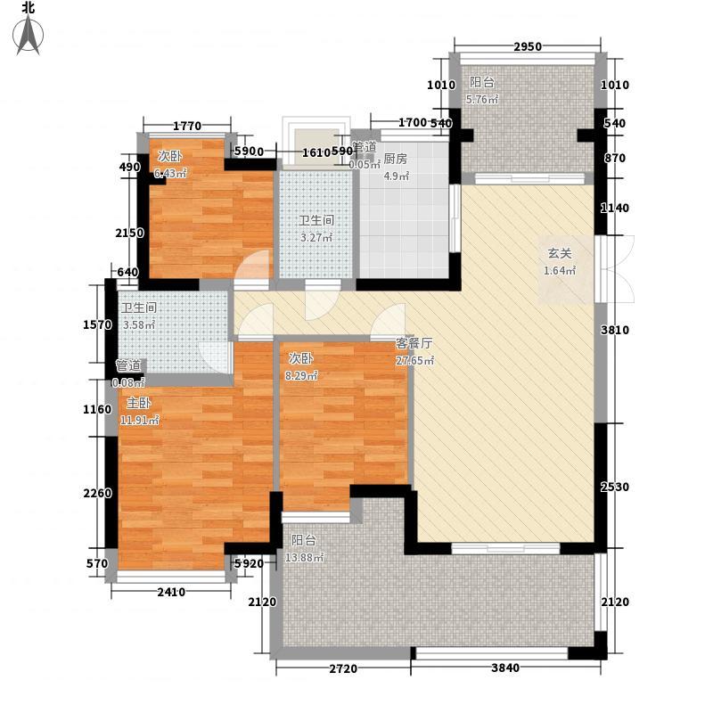 瑞华园户型图2栋偶数层A户型 3室2厅2卫