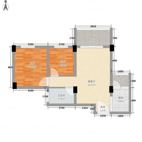 南沙滨海半岛2室1厅1卫1厨80.00㎡户型图