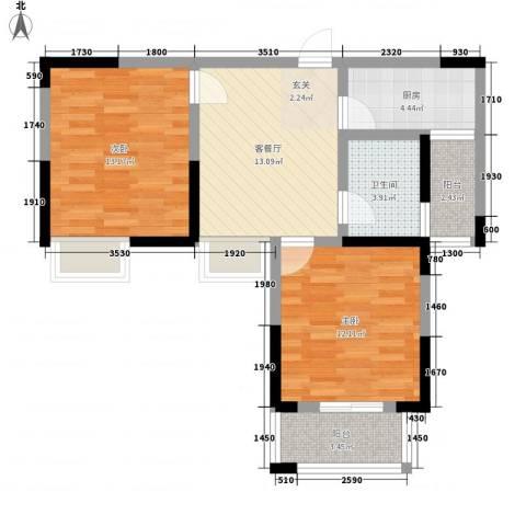香槟花园2室1厅1卫1厨78.00㎡户型图