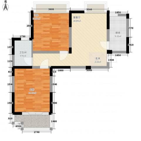 香槟花园2室1厅1卫1厨87.00㎡户型图