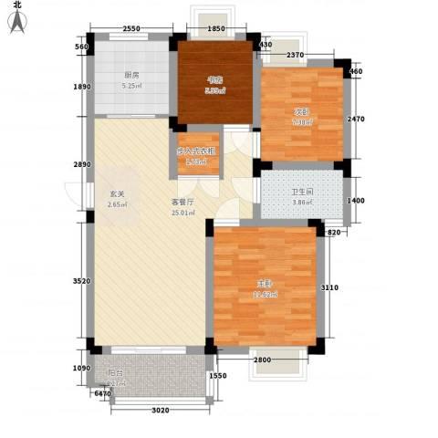 鹅湖一号3室1厅1卫1厨95.00㎡户型图